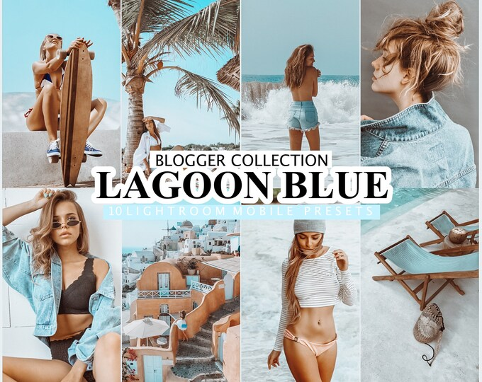 10 Mobile LIGHTROOM Presets LAGOON BLUE, Desktop Presets, Lightroom Mobile Presets, Instagram Filters, Presets, Summer Preset, Blue Preset
