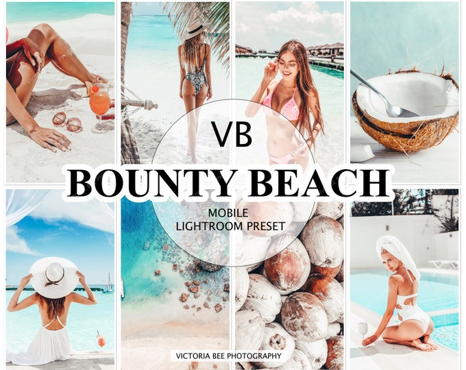 5 Lightroom Mobile Preset BOUNTY BEACH , Summer Preset, Influencer Lightroom Bright and Airy Presets for Bloggers, Instagram Clean Presets