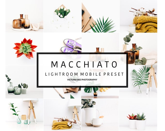 5 Lightroom Mobile Presets MACCHIATO, Clean Product Preset For Lightroom, Bright and Airy Minimal Lightroom Mobile Preset