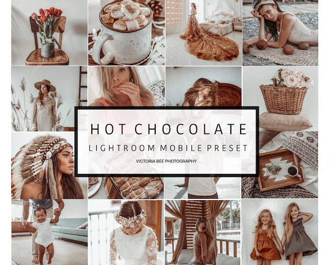5  Lightroom Mobile Presets HOT CHOCOLATE Creamy Tones Lightroom Preset Warm Chocolate Preset for Photos Editing