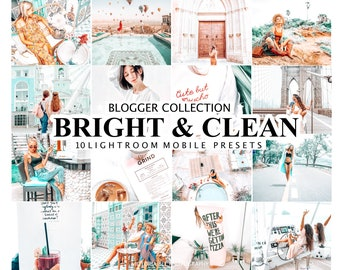10 Mobile Lightroom Presets BRIGHT AND CLEAN, Desktop Presets for Blogger, Bright and Airy Lightroom Presets, Lightroom Light and Clean