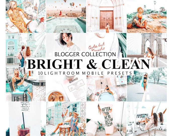 10 Mobile Lightroom Presets BRIGHT AND CLEAN Desktop Presets for Blogger, Bright and Airy Presets, Light and Clean Photo Filters