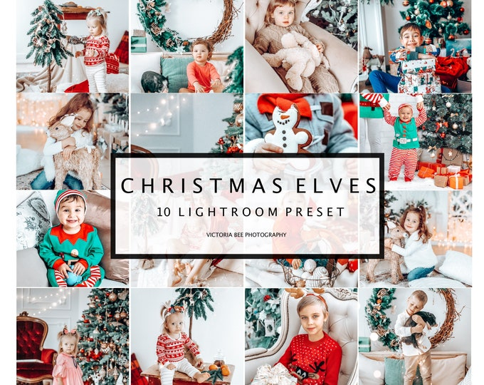 10 Mobile Lightroom Presets CHRISTMAS ELVES, Mobile Instagram Lightroom Presets, Lightroom Desktop Holiday Photo Filter, Winter Presets