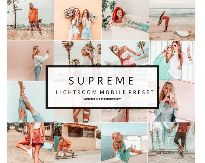 5  Summer mobile Presets SUPREME, Lightroom Mobile Presets,  Influencer Lightroom Presets Cohesive Instagram Aesthetic Presets