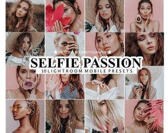 10 Mobile Lightroom Presets SELFIE PASSION, Desktop Portrait Preset for instagram, Lifestyle Photo Filter for Mobile Lightroom