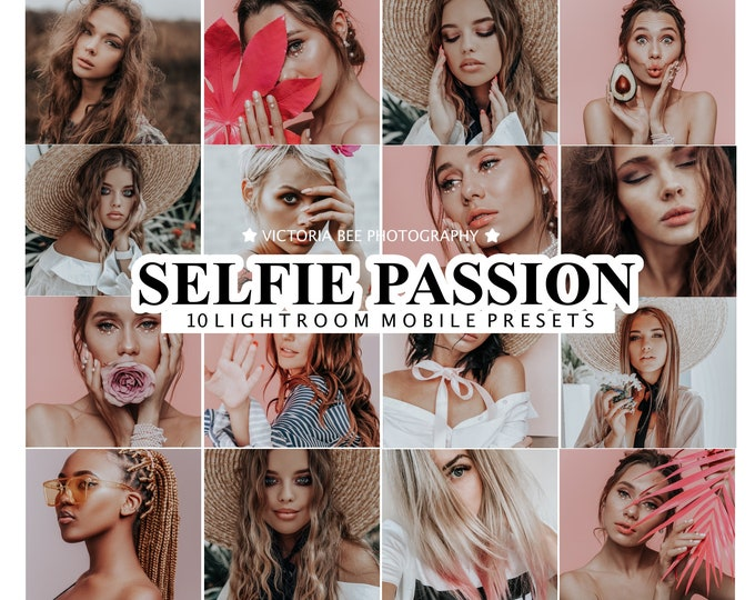 10 Mobile Lightroom Presets SELFIE PASSION, Desktop Portrait Preset for instagram, Lifestyle Photo Filter