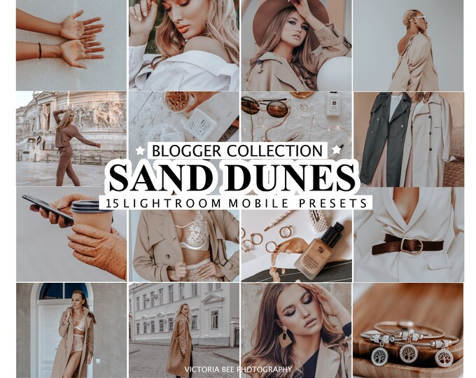 15 Mobile Lightroom Presets SAND DUNES, Presets for Desktop and Mobile Lightroom, Instagram Filter, Nude Tones