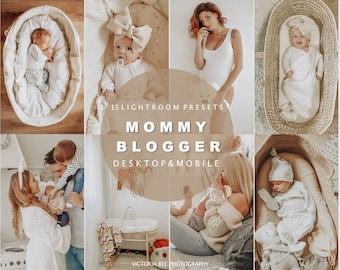15 Lightroom Presets MOMMY BLOGGER for desktop and mobile Lightroom, warm toned mother preset, baby instagram presets, photo editing