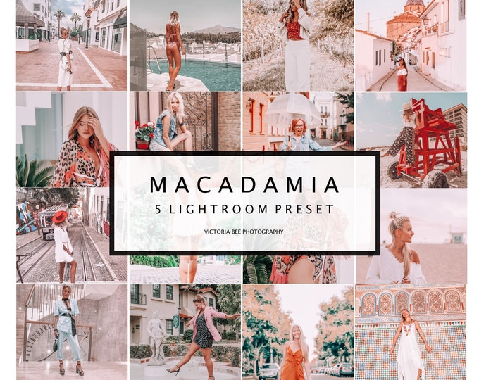5 Mobile Lightroom Presets Macadamia | Instagram Presets | Travel Presets | Influencer Presets | Bloggers Preset