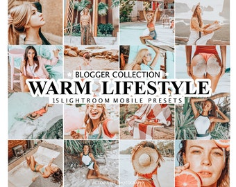 15 Lightroom Presets WARM LIFESTYLE for Mobile and Desktop Lightroom / Warm Lightroom Preset / Orange Preset for Instagram