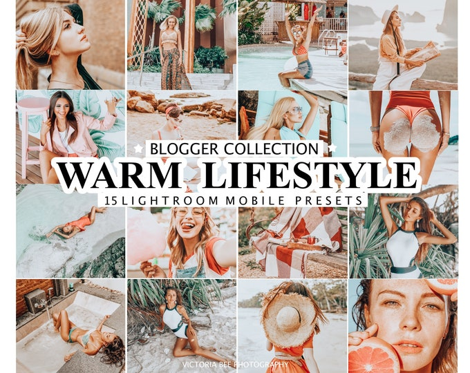 15 Lightroom Presets WARM LIFESTYLE for Mobile and Desktop Lightroom / Warm Lightroom Preset / Orange Preset for Instagram