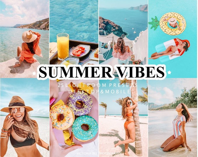 25 Lightroom Presets for Desktop and Mobile SUMMER VIBES, summer presets for bloggers, bright and vibrant photo filter, mobile presets