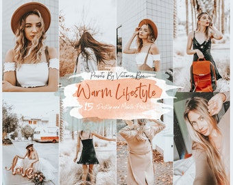 15 Lightroom Presets  Warm Lifestyle Mobile and Desktop Lightroom Presets, Instagram Filter, Warm Lightroom Preset