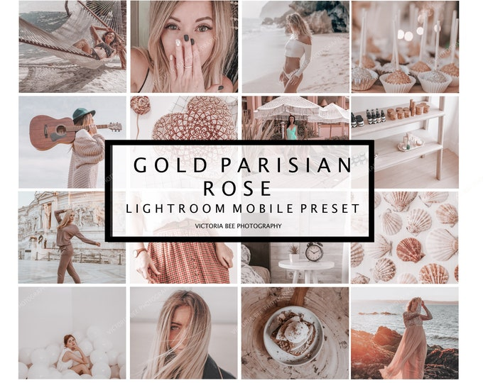 5 Lightroom Mobile Lifestyle Presets GOLD PARISIAN ROSE Instagram Lightroom Presets For Bloggers Gold Rose Preset