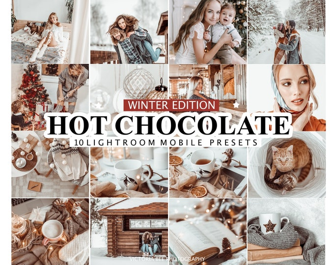 10 Lightroom Mobile Presets HOT CHOCOLATE Creamy Desktop Presets Winter Mobile Presets Chocolate Presets for Photos Editing