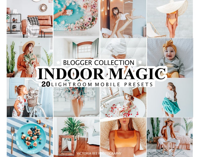 20 Mobile Lightroom Presets INDOOR MAGIC for Desktop and Mobile Lightroom, Instagram Photo Filter, Indoor Photo Presets