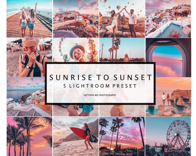 5 Mobile Lightroom Presets SUNRISE TO SUNSET Vibrant Instagram Lightroom Presets, Lifestyle Presets, Blogger Presets, Travel Sunset Presets