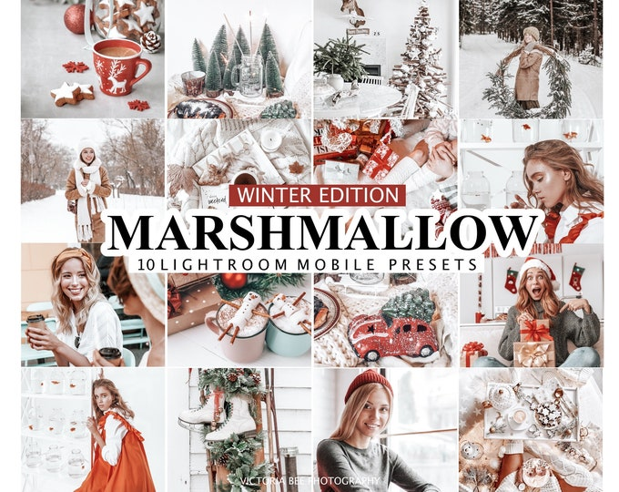 10 Lightroom Presets MARSHMALLOW, Christmas Presets Lightroom Mobile, Desktop Lightroom Presets, Holiday presets, Winter Presets