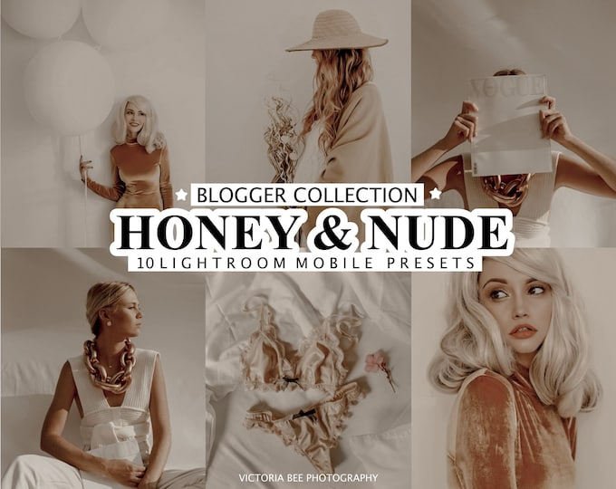 10 Lightroom Presets HONEY AND NUDE, Beige Tone Lightroom Presets, Mobile Presets for instagram, Photo Filter for bloggers