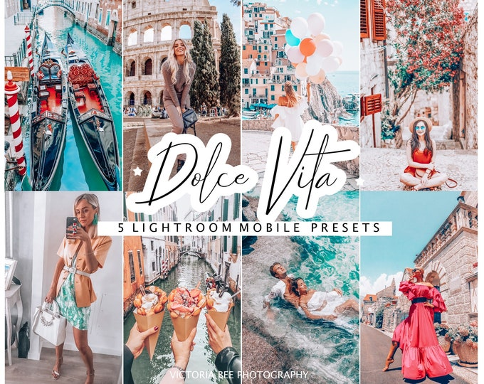5 Mobile Lightroom Presets DOLCE VITA Travel Instagram Lightroom Presets, Lifestyle Presets, Blogger Presets, Influencer Presets