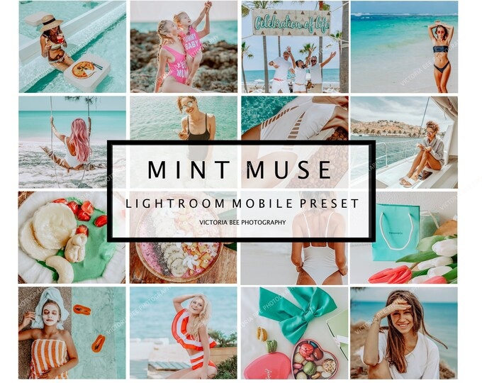 5 Bright Summer Lightroom Mobile Presets MINT MUSE Instagram filters Influencer Preset Travel presets Instagram Bloggers presets