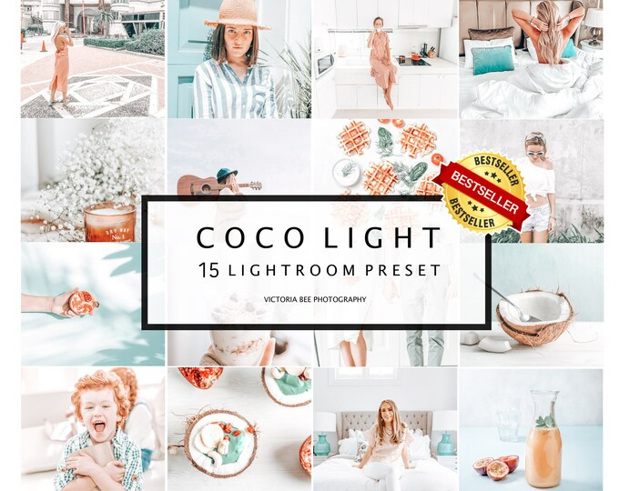 15 Mobile Lightroom Presets Coco Light, Lightroom Desktop Presets, Instagram Presets, Light and Airy Preset for Bloggers, Bright Preset