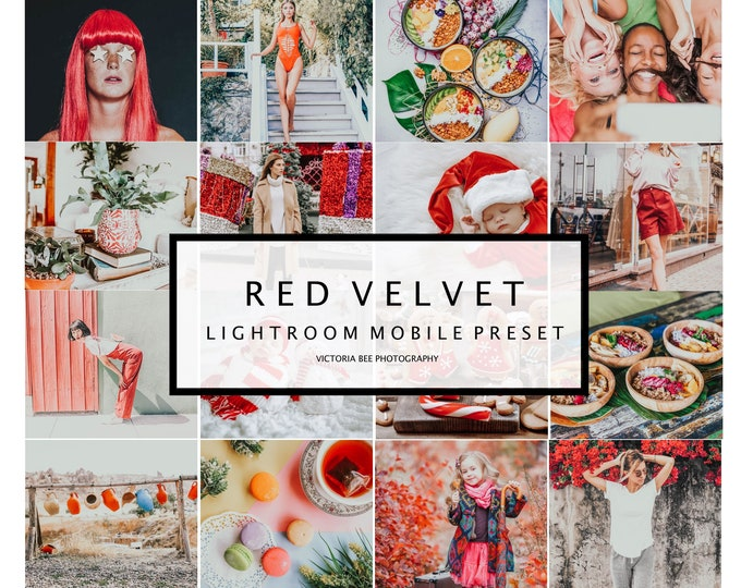 5 Lightroom Mobile Presets RED VELVET Bright Holiday Lightroom Preset Christmas Photos Editing