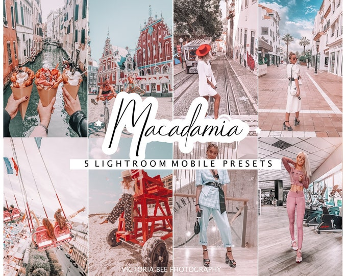 5 Mobile Lightroom Presets Macadamia | Instagram Presets | Travel Presets | Influencer Presets | Bloggers Preset