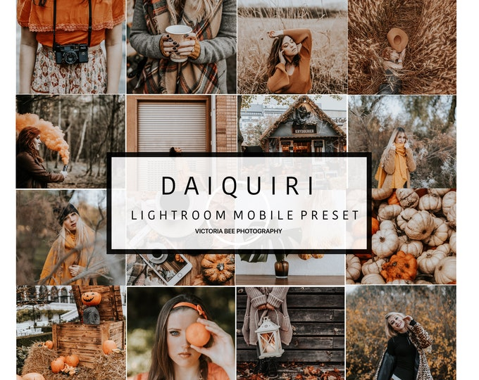 5 Mobile Lightroom Preset  DAIQUIRI Orange Theme Preset, Blogger Lightroom Mobile Autumn Preset
