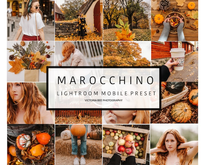 5 Mobile Lightroom Preset MAROCCHINO  Fall Mobile Lightroom Orange Preset Warm Autumn Tones For Bloggers