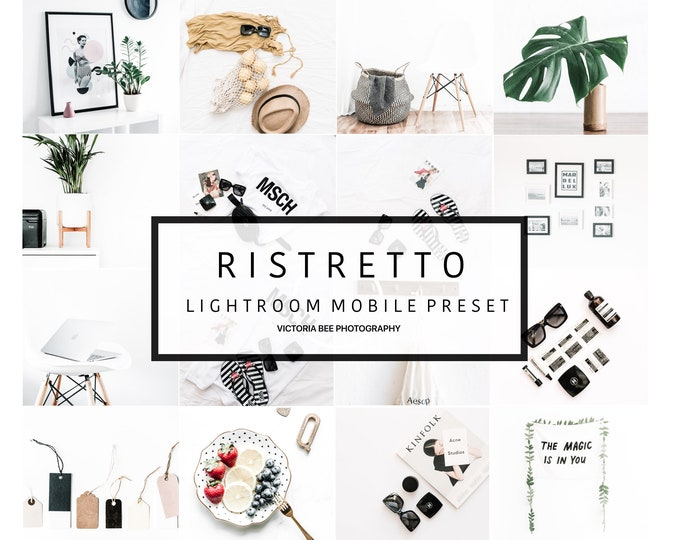5 Lightroom Mobile Presets  RISTRETTO Minimalist Clear Bright Preset for Bloggers. Lightroom instagram preset