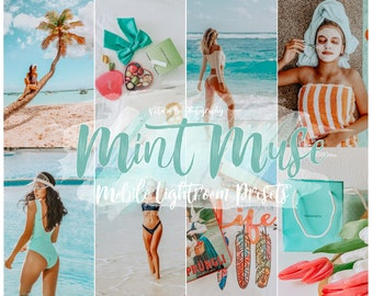 5 Bright Summer Lightroom Mobile Presets MINT MUSE Instagram filters Influencer Preset Travel presets Instagram Bloggers presets