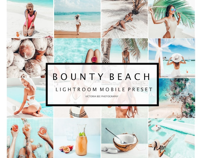 5 Mobile Presets BOUNTY BEACH Summer Presets Lightroom mobile Bright and Airy Presets for Bloggers Presets Instagram Beach presets