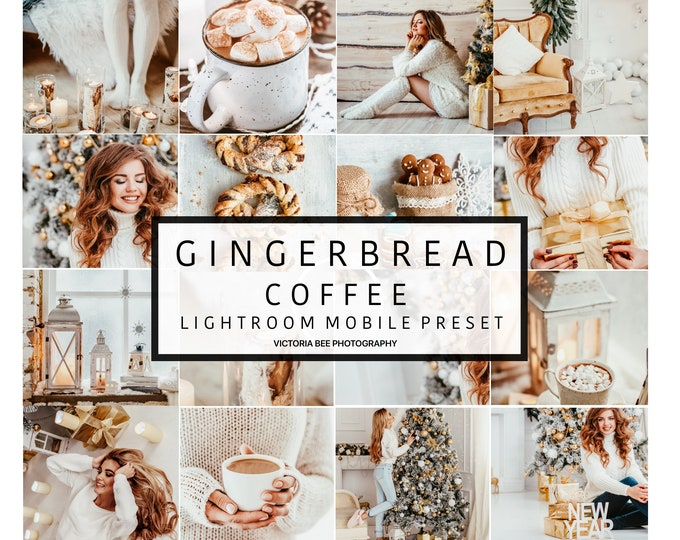 5 Mobile Lightroom Presets GINGERBREAD , Lightroom Mobile Bright Tones Preset for Instagram Editing, Christmas Blogger Mobile Preset