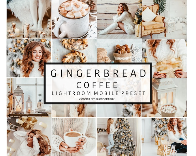 5 Lightroom Mobile Presets GINGERBREAD Bright Tones Preset for Instagram Editing, Christmas Blogger Mobile Preset