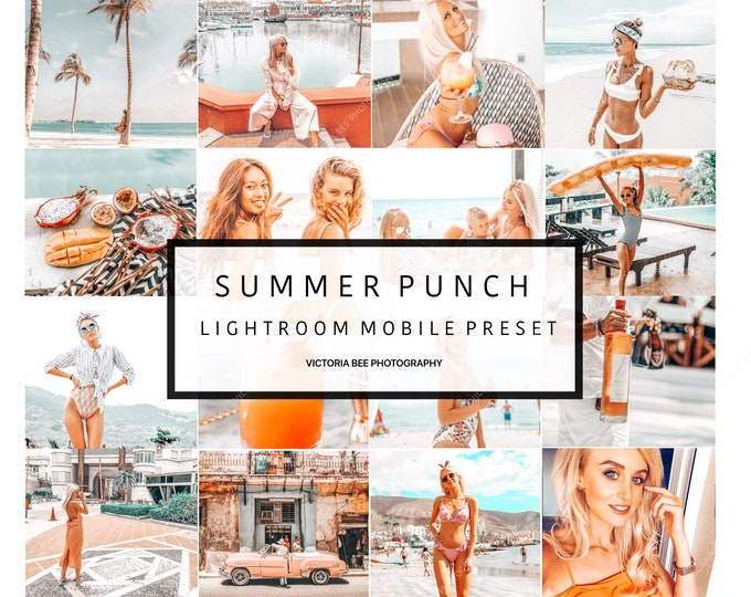 5 Lightroom Mobile Presets SUMMER PUNCH Influencer Lightroom Preset for Bloggers