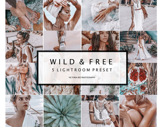 5 Mobile Lightroom Presets WILD & FREE / Lightroom Mobile  Instagram presets For Blogger /  Photo filter For Instagram
