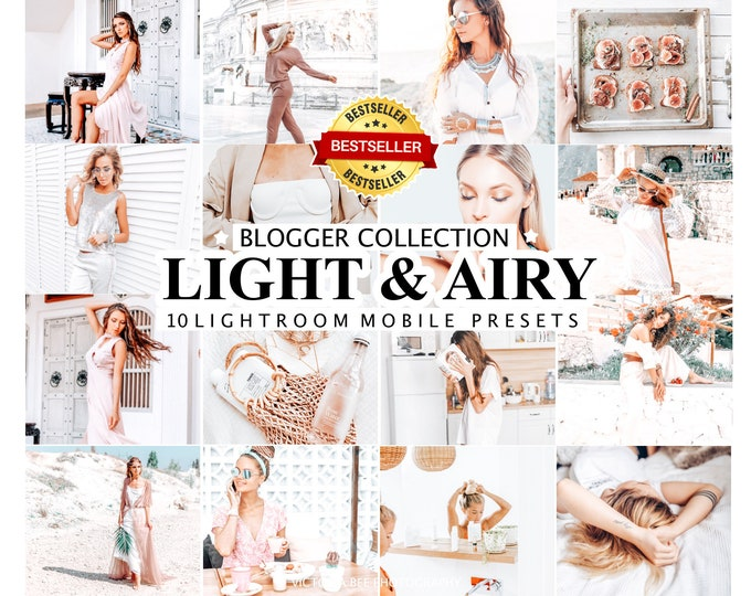 10 Mobile Lightroom Presets LIGHT & AIRY, Lightroom Mobile  Presets, Lightroom Desktop Presets, Bright  Photo Filter for Instagram