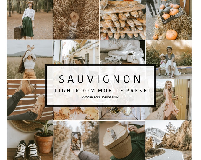 5 Mobile Lightroom Preset SAUVIGNON, Vintage Mobile Preset, Warm Preset Instagram Look, Blogger Lightroom Mobile Preset
