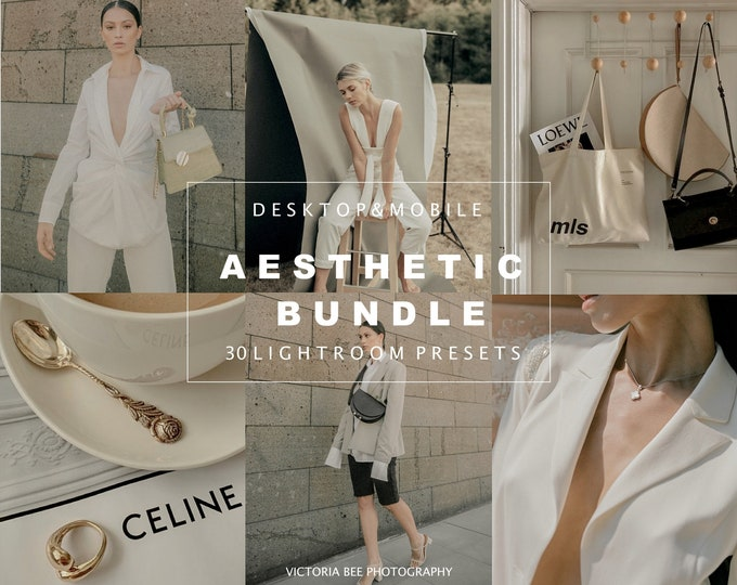 30 Lightroom Presets Aesthetic, Mobile and Desktop Preset Bundle, Natural Photo Filter, Beige Tones, Nude Presets for Bloggers
