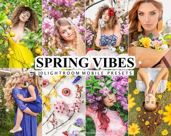 10 Mobile LIGHTROOM Presets SPRING VIBES, Vibrant Mobile Presets for Lightroom, Natural Light Bright Preset, Photo Filter For Bloggers