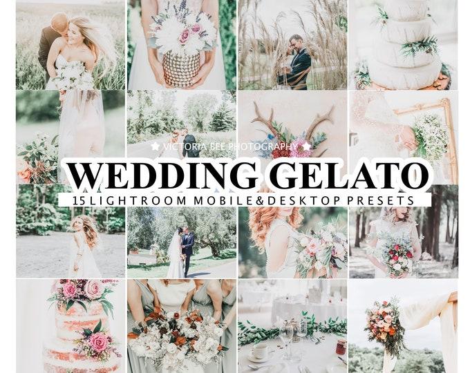 15 Lightroom Presets WEDDING GELATO, Mobile Bright and Light Presets, Desktop Wedding Presets, Airy presets