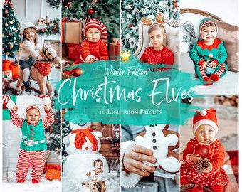 10 Mobile Lightroom Presets CHRISTMAS ELVES, Mobile Instagram Lightroom Presets, Lightroom Desktop Holiday Photo Filter, Winter Presets