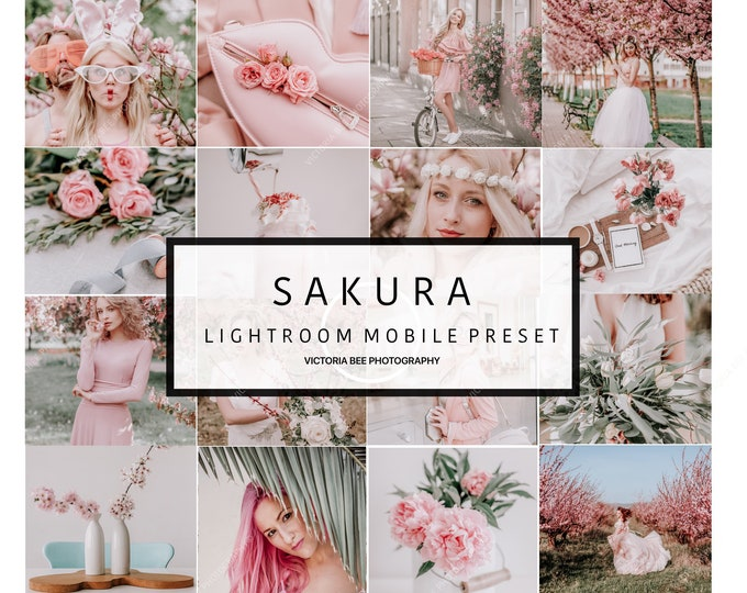 5 Lightroom Mobile Presets SAKURA Spring Mobile Lightroom Preset Soft Cohesive Instagram Aesthetic Warm Presets