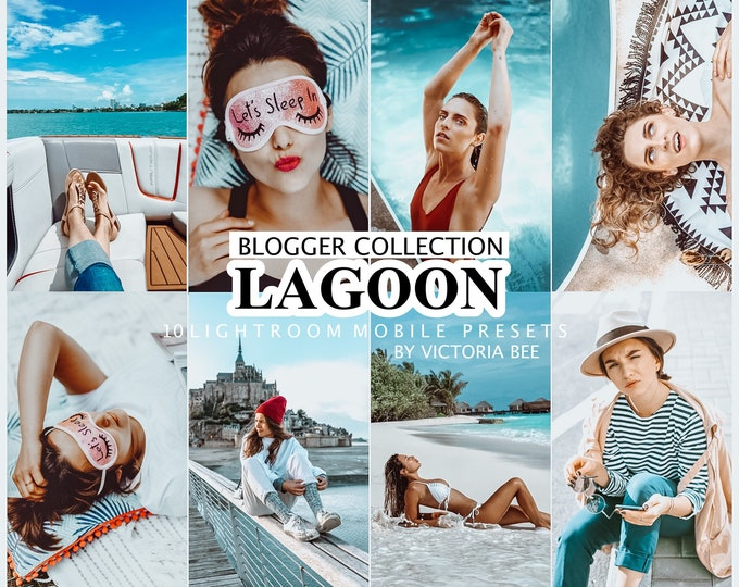 10 Mobile LIGHTROOM Presets BLUE LAGOON, Desktop Presets for Lightroom, Mobile Presets for Instagram, Photo Filter, Blue preset