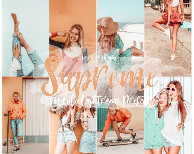 5  Summer mobile Presets SUPREME, Lightroom Mobile Presets,  Influencer Lightroom Presets Cohesive Instagram Aesthetic Presets