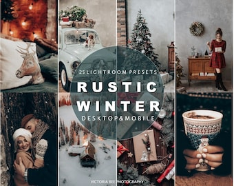 25 Mobile Presets for Lightroom • Presets Rustic Winter • Desktop Presets for Lightroom • Christmas Filter for Instagram • Photo Editing