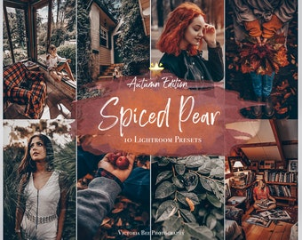 10 Mobile Lightroom Presets SPICED PEAR, Autumn Moody Mobile Presets for Lightroom, Matte Presets for Fall Season