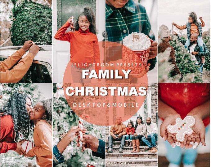 25 CHRISTMAS Presets for Lightroom, Family Mobile Presets, Holiday Winter Instagram Filter, Blogger Presets