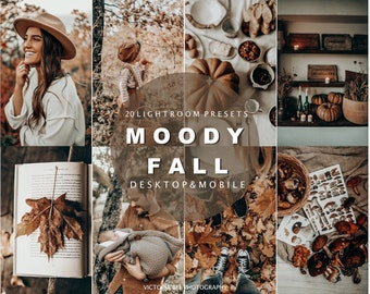 20 Autumn presets for Desktop and Mobile Lightroom, Moody Fall presets, Preset for blogger, Warm Instagram filter, earthy tone